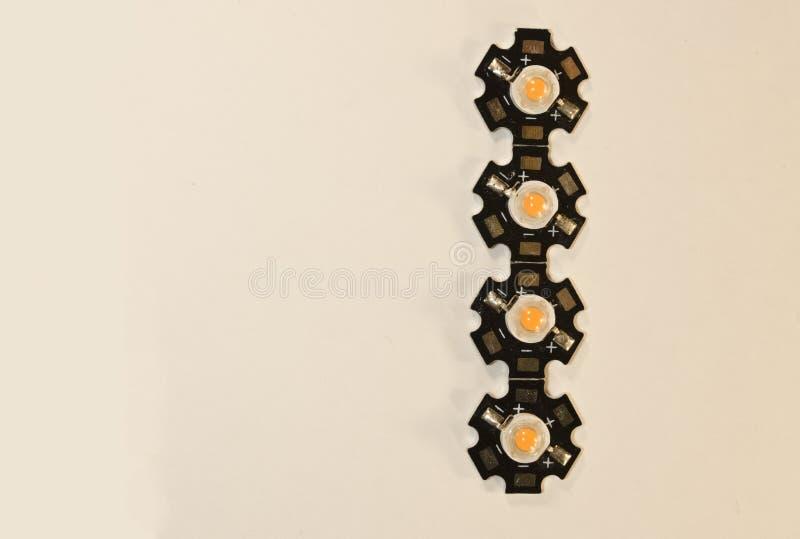 Trzy wata LEDs na lekkim tle LEDs dla rośliien fotografia royalty free