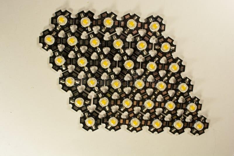 Trzy wata LEDs na lekkim tle LEDs dla rośliien obraz stock