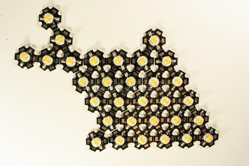 Trzy wata LEDs na lekkim tle LEDs dla rośliien zdjęcie royalty free