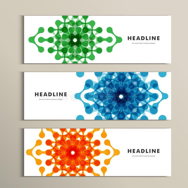 Trzy wektorów deseniowy abstrakt w sztandaru projekcie royalty ilustracja