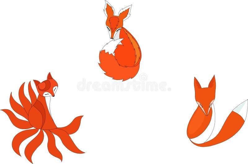 Trzy wektorowego projekta czerwonego ślicznego lisa ilustracja wektor
