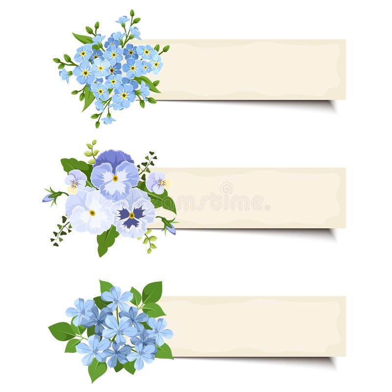 Trzy wektorowego sztandaru z różnorodnymi błękitnymi kwiatami Eps-10 ilustracji