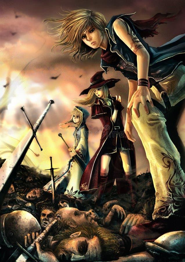 Trzy wielkiego czarownika stoją na stosie zwłoki royalty ilustracja