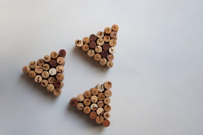Trzy wino korków trójboka w trójgraniastym kształcie zdjęcia stock