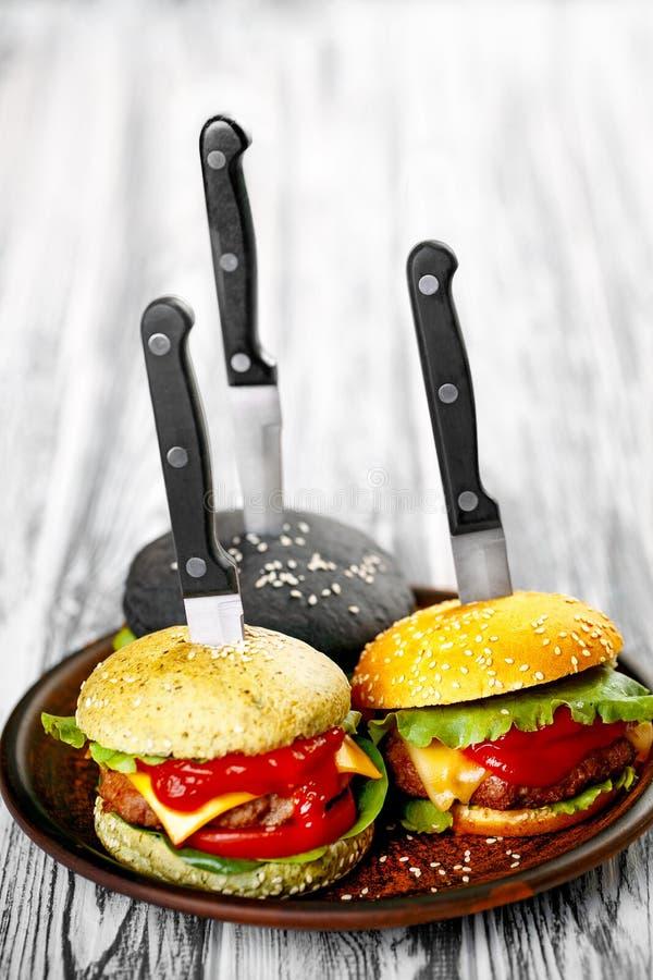 Trzy wyśmienicie hamburgeru zdjęcie royalty free