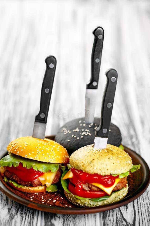 Trzy wyśmienicie hamburgeru fotografia royalty free
