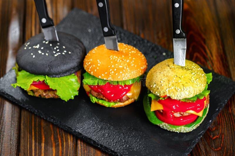 Trzy wyśmienicie hamburgeru zdjęcia royalty free