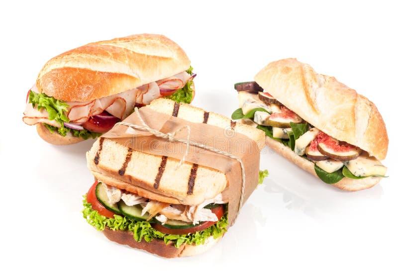 Trzy wyśmienitej kanapki obrazy royalty free