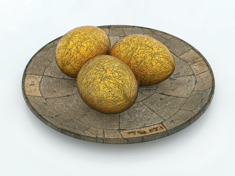 Trzy złotego jajka na kamienia talerzu ilustracji