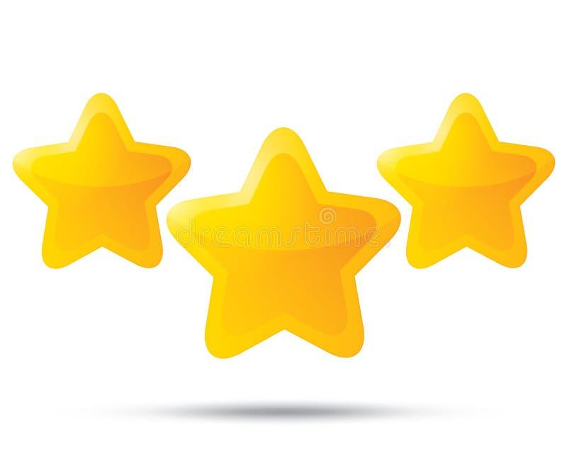 Trzy złotej gwiazdy. Gwiazdowe ikony na białym tle ilustracji