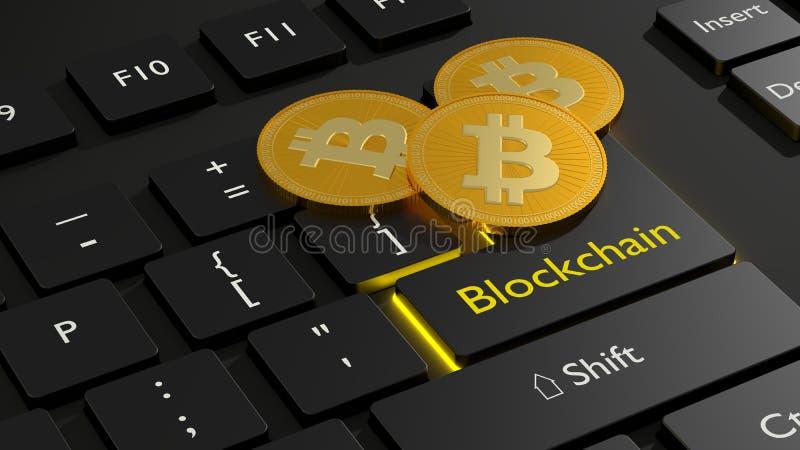 Trzy złoty bitcoin na wchodzić do kluczu czarny komputerowy keyboa ilustracji