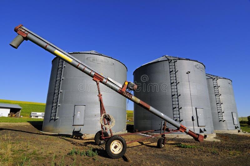 Trzy zbożowego silosu farmfield obraz royalty free