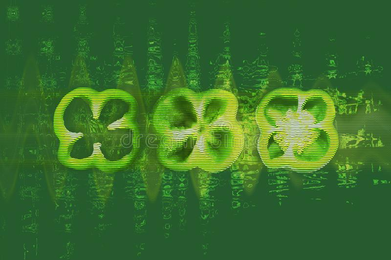 Trzy zielenieją cutted pieprze z usterka skutkiem ilustracja wektor