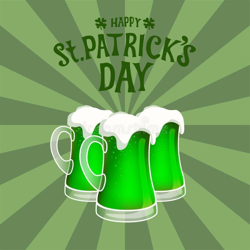 Trzy zielonego piwnego kubka przeciw sunburst rocznika tłu Wręcza patroszonego st Patrick ` s dnia literowanie ilustracja wektor