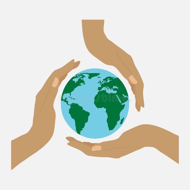 Trzy ziemi i, koncern dla środowiska ziemia wewnątrz ilustracji