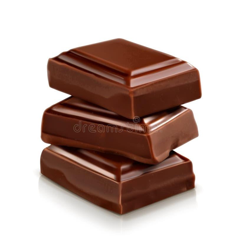 Trzy zmrok czekolady kawałka royalty ilustracja