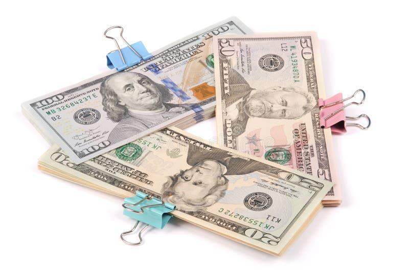 Trzy zwitka pieniądze sto pięćdziesiąt i dwadzieścia dolarów obraz royalty free