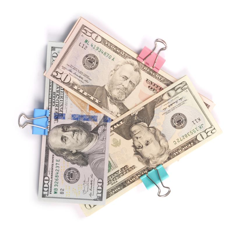 Trzy zwitka pieniądze sto pięćdziesiąt i dwadzieścia dolarów zdjęcie royalty free
