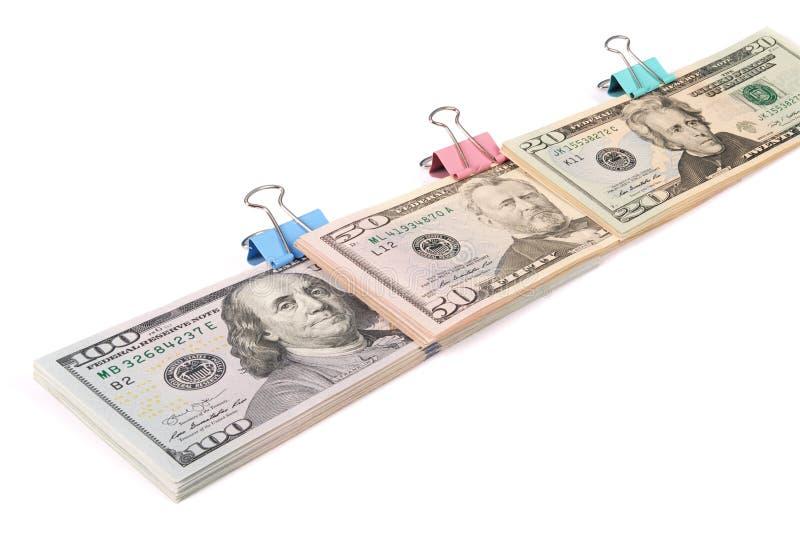 Trzy zwitka pieniądze sto pięćdziesiąt i dwadzieścia dolarów zdjęcie stock