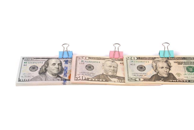Trzy zwitka pieniądze sto pięćdziesiąt i dwadzieścia dolarów obrazy royalty free