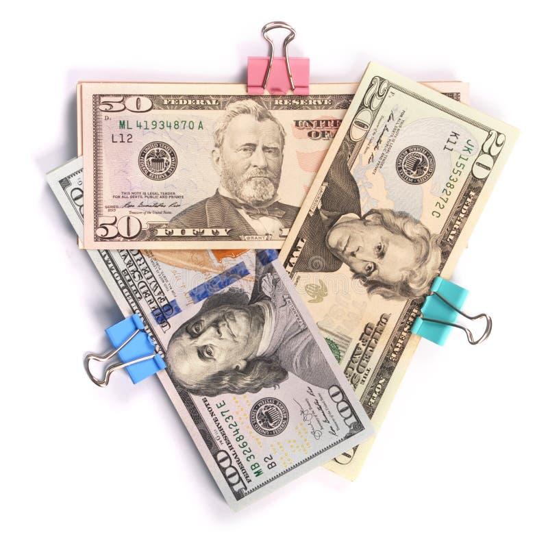 Trzy zwitka pieniądze sto pięćdziesiąt i dwadzieścia dolarów obrazy stock