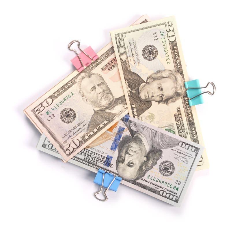 Trzy zwitka pieniądze sto pięćdziesiąt i dwadzieścia dolarów zdjęcia royalty free