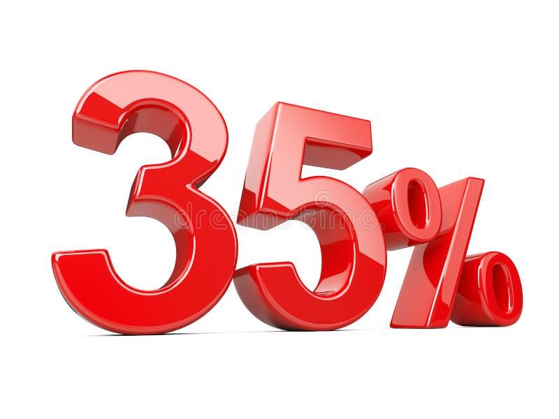 Trzydzieści pięć pięć czerwieni procentu symboli/lów 35% odsetka tempo Specia royalty ilustracja