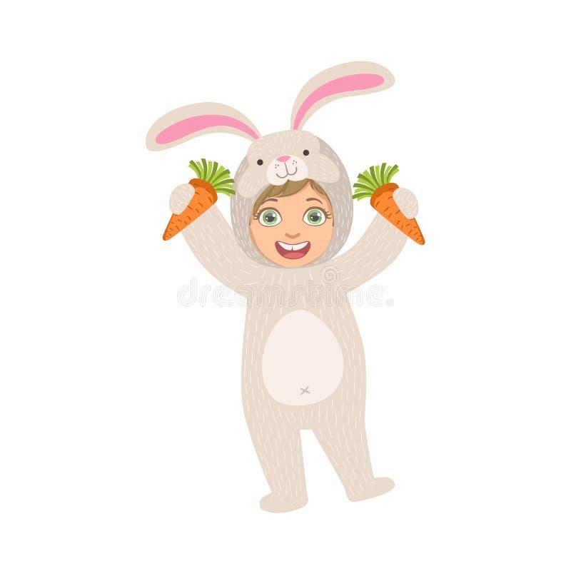 Trzymać marchewki W królika zwierzęcia kostiumu royalty ilustracja