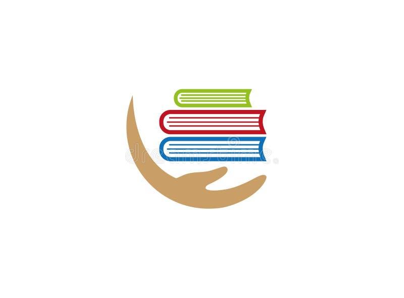 Trzymać wielo- książki z ręką dla logo projekta ilustracja wektor