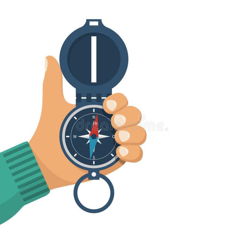 Trzyma kompas w ręce ilustracji