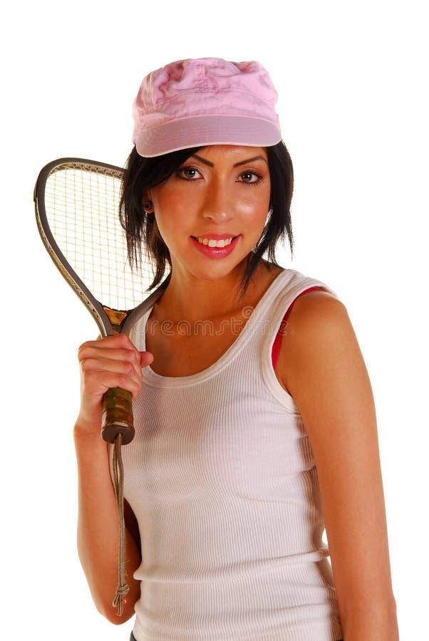 trzymając racquet łacińskiej młodej kobiety fotografia royalty free