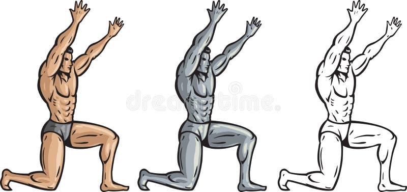 trzymający mężczyzna coś mięśniowy coś ilustracji