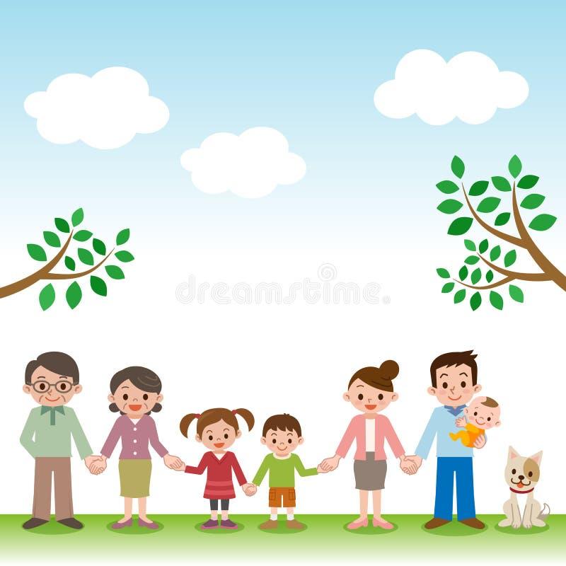 Trzymający ręki szczęśliwego trzy pokolenia rodzinny royalty ilustracja