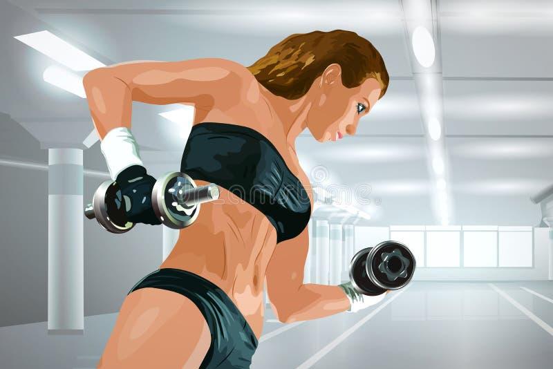 2 3 trzymaj barbells lb szkolenia wagi ilustracja wektor