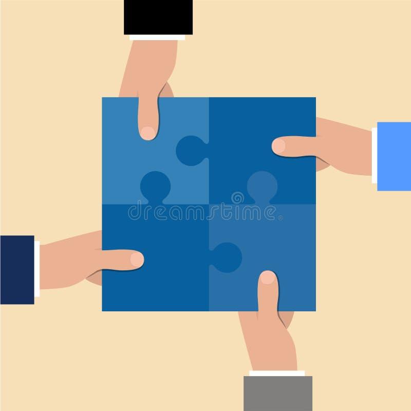 trzymaj ręce komunikacyjnych koncepcyjnych obraz puzzle Kawałki wpólnie Pracy zespołowej pojęcie Biznesowa partnerstwo metafora R ilustracji