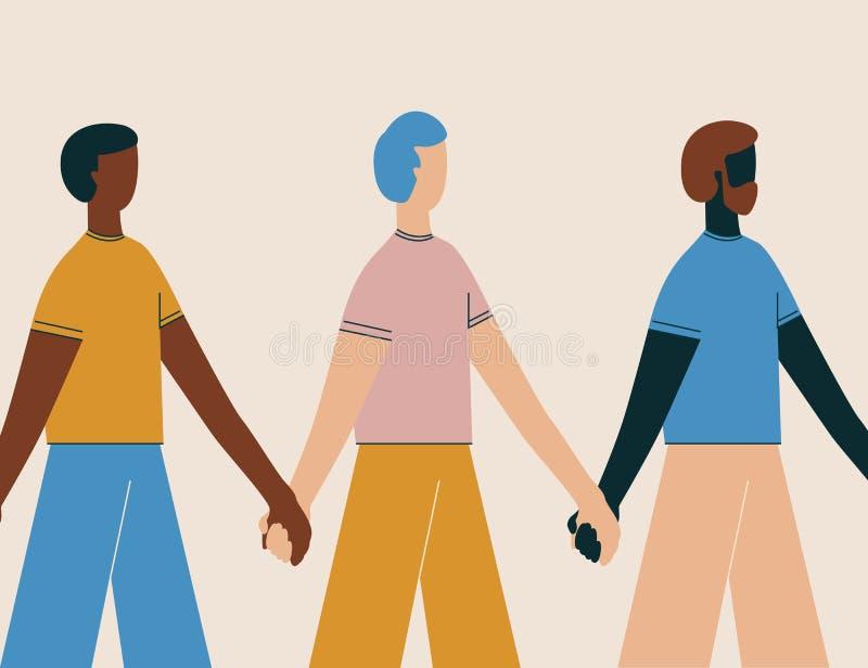 trzymaj r?ce cz?owieka Ludzie stoi w rzędzie wpólnie Pojęcie szczęście, przyjaźń, różnorodność, społeczność, siła ilustracja wektor