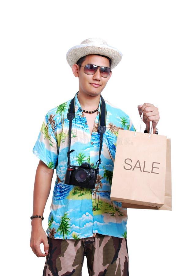 trzymaj torbę sprzedaż papieru podróżnych zdjęcia royalty free