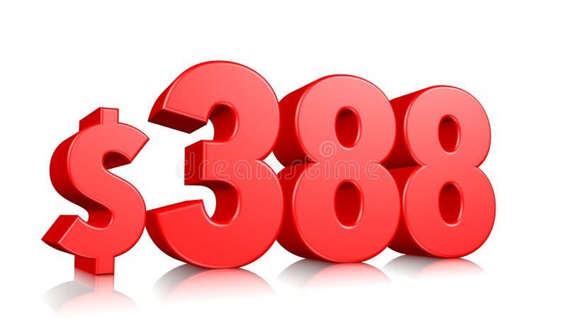 388$ Trzysta i osiemdziesiąt osiem ceny symbol czerwona tekst liczba 3d odpłaca się z dolarowym znakiem na białym tle ilustracji