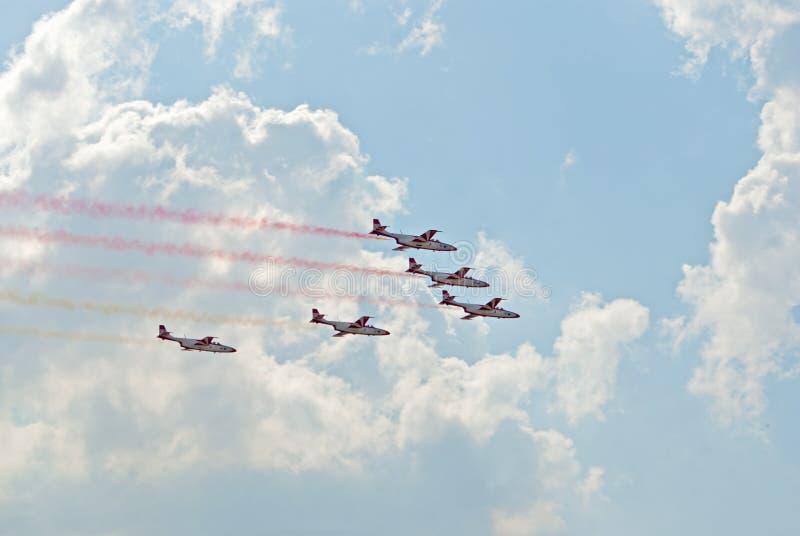 TS-11 jets from Bialo-Czerwone Iskry team stock image