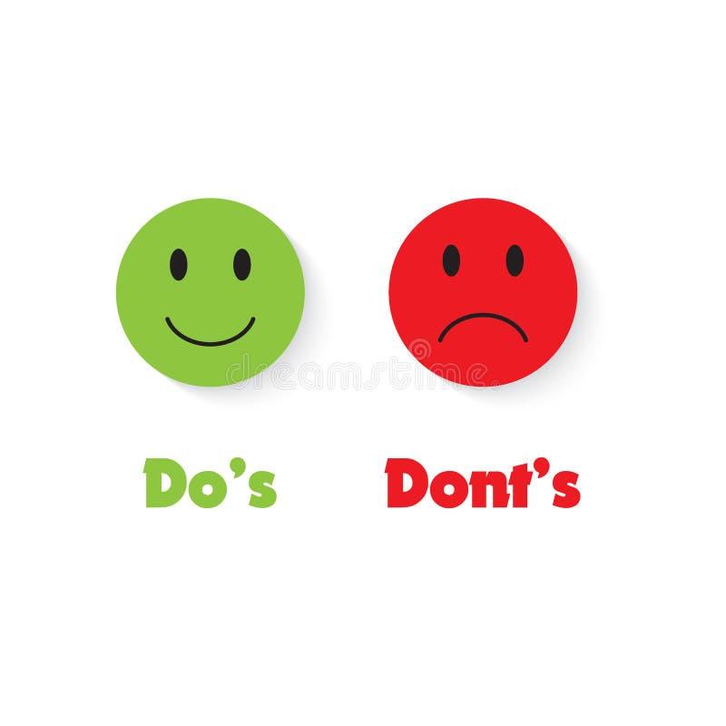 Ts de Do y de Don los 'con sonrisa verde y roja La indicación de los posts de muestra hace el ` s contra ts del ` de Don ilustración del vector
