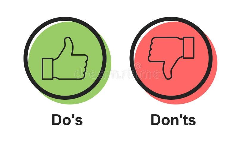 Ts do Dos e do Don da bolha do vetor do ícone do discurso 'ou como/ao contrário dos símbolos, projeto gráfico do logotype simples ilustração royalty free