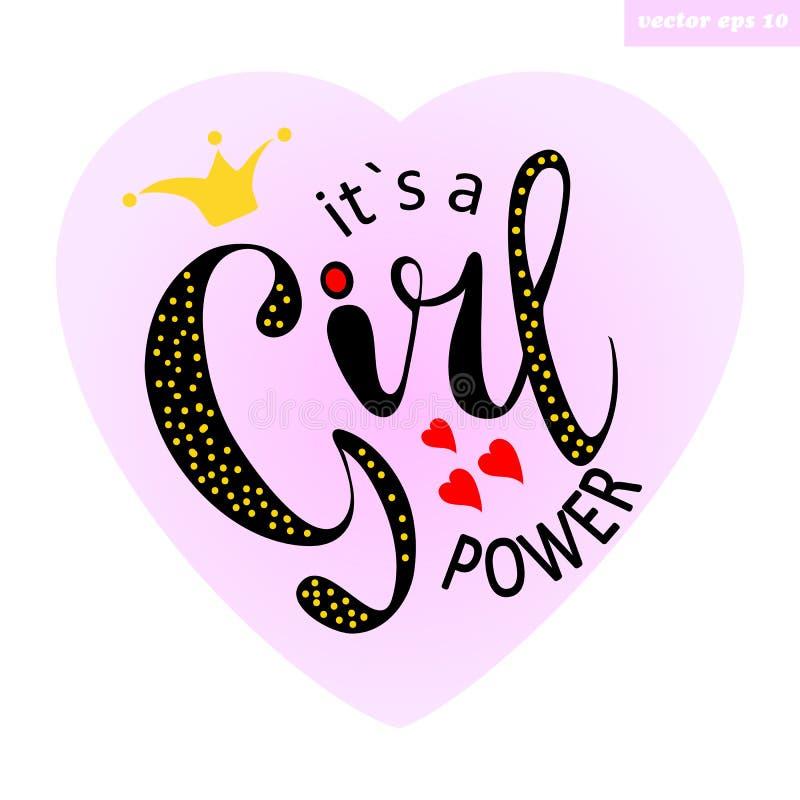 Ts um poder da menina ilustração stock