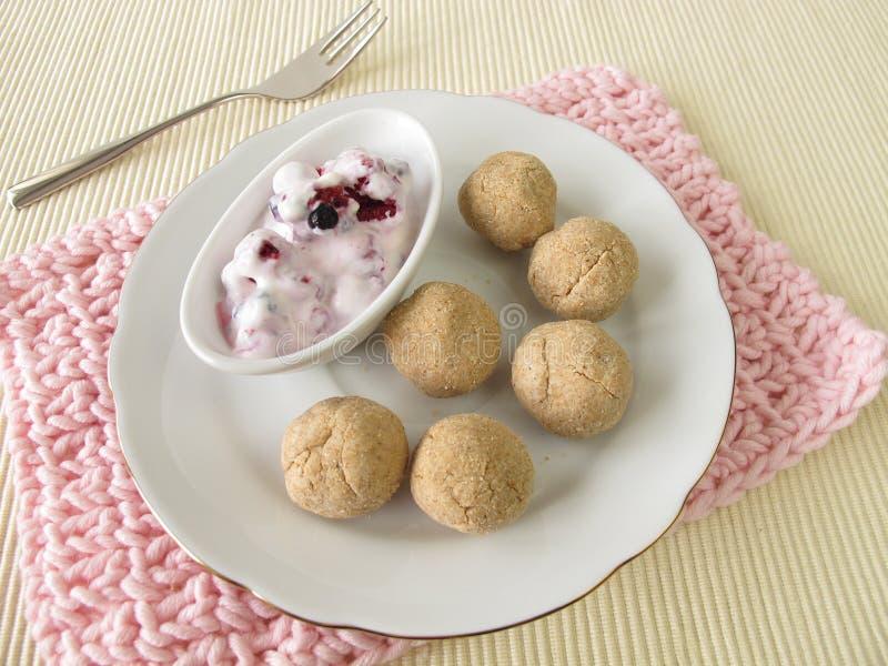 Tsampa balls with fruit yogurt royalty free stock photos