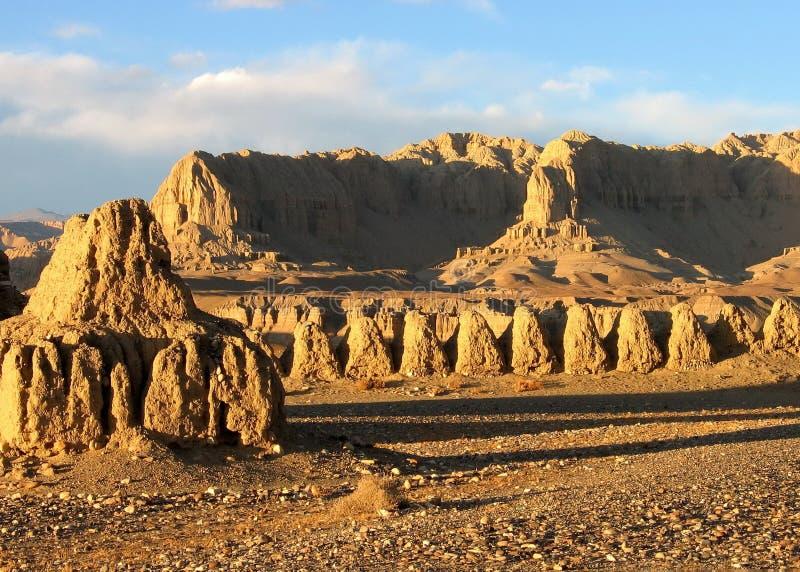 Tsaparang sunset in Tibet Ngari royalty free stock photos