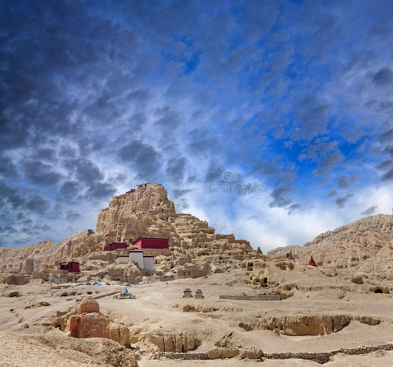 Tsaparang, the ruins of the ancient capital of Guge Kingdom and. Panorama of Tsaparang, the ruins of the ancient capital of Guge Kingdom and Tholing Monastery royalty free stock image