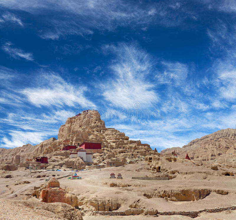 Tsaparang, the ruins of the ancient capital of Guge Kingdom and. Panorama of Tsaparang, the ruins of the ancient capital of Guge Kingdom and Tholing Monastery stock image