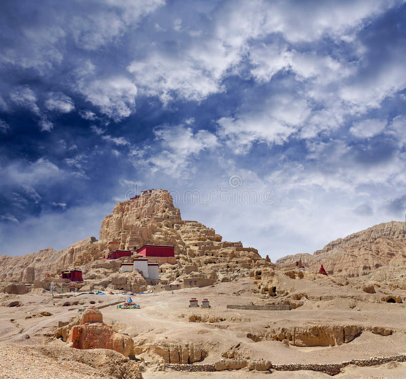 Tsaparang, the ruins of the ancient capital of Guge Kingdom and. Panorama of Tsaparang, the ruins of the ancient capital of Guge Kingdom and Tholing Monastery royalty free stock photos