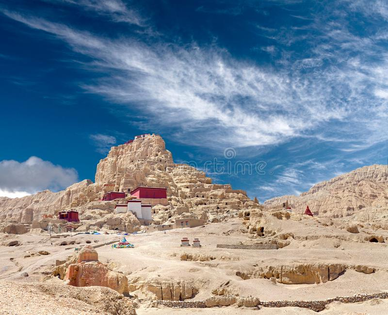 Tsaparang, the ruins of the ancient capital of Guge Kingdom and. Panorama of Tsaparang, the ruins of the ancient capital of Guge Kingdom and Tholing Monastery stock photography