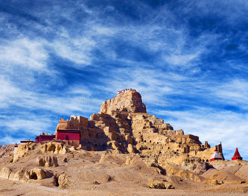 Tsaparang, the ruins of the ancient capital of Guge Kingdom. And Tholing Monastery, Tibet. Tholing monastery was built in 997 AD by second King of the Guge royalty free stock image