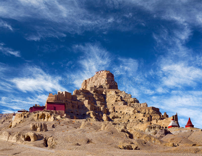 Tsaparang, the ruins of the ancient capital of Guge Kingdom and. Tholing Monastery, Tibet. Tholing monastery was built in 997 AD by second King of the Guge stock photo